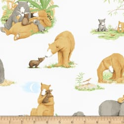 You're All My Favorites Bears Mist Gray Fabric