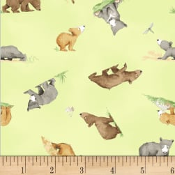 You're All My Favorites Tossed Bears Lime Fabric