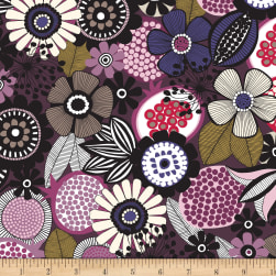 Birds and Blooms Large Floral Wine Fabric