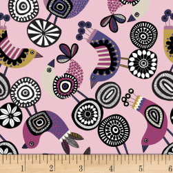 Birds and Blooms Tossed Birds Pink Fabric