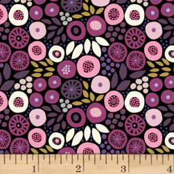 Birds and Blooms Foliage Dark Wine Fabric