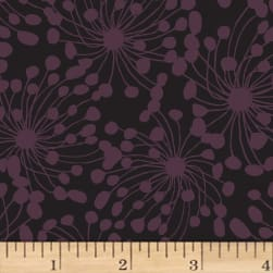Birds and Blooms Abstract Black Fabric