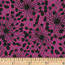 Birds and Blooms Abstract Eggplant Fabric