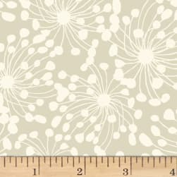 Birds and Blooms Abstract Light Taupe Fabric