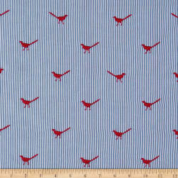 Telio Embroidered Poplin Bird Red Blue Fabric