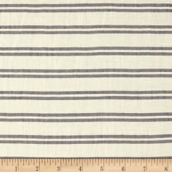 Telio Linen Rayon Yarn Dyed Stripe White Black Fabric
