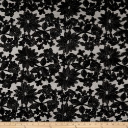 Telio Sublime Embroidered Mesh Lace Floral Black