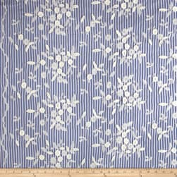 Telio Broadcloth Stripe Print Floral Embroidery White Blue