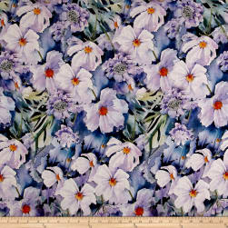 Telio Digital Linen Prints Floral Lavender Fabric