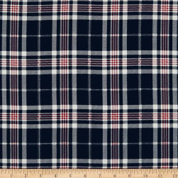 Telio Robin Poly Faille Print Plaid Navy Fabric