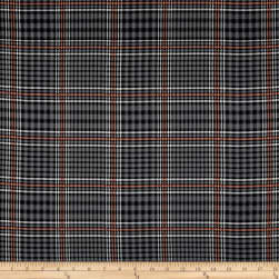 Telio Robin Poly Faille Print Plaid Grey Fabric