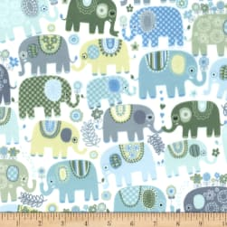 Michael Miller Minky Happy Elephants Happy Elephants Blue