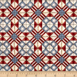Let Freedom Fly Forever Geometric Red/Blue Fabric