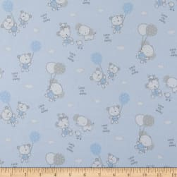 Les Enfantes Flannel Large Allover Animals Blue Fabric