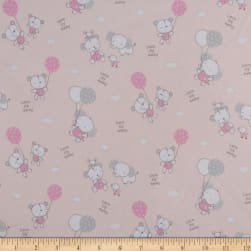Les Enfantes Flannel Large Allover Animals Pink Fabric