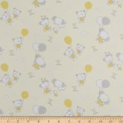 Les Enfantes Flannel Large Allover Animals Yellow Fabric