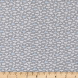 Les Enfantes Flannel Clouds Blue Fabric