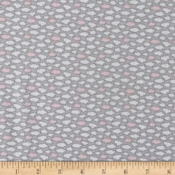 Les Enfantes Flannel Clouds Pink Fabric