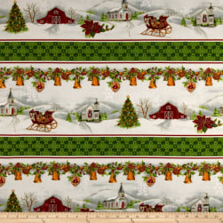 Christmas Chimes Border Metallic Red/Green Fabric