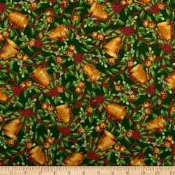 Christmas Chimes Bells Metallic Green Fabric