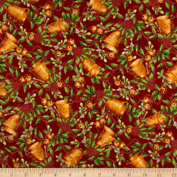 Christmas Chimes Bells Metallic Red Fabric