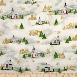 Christmas Chimes Small Church Metallic Light Grey Fabric