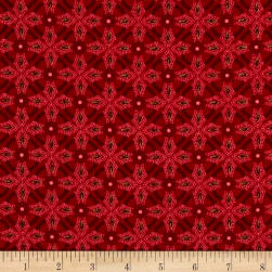 Christmas Chimes Geometric Metallic Red Fabric