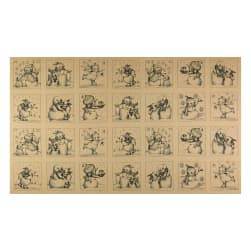 Snowmen Meadow Snowmen Squares Black/Brown Fabric