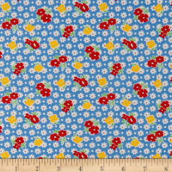 Holly's Dollies Tossed Flowers Light Blue Fabric