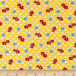 Holly's Dollies Tossed Flowers Yellow Fabric