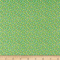 Holly's Dollies Squares Green Fabric