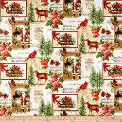 Christmas Memories Patchwork Metallic Multi Fabric