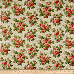 Christmas Memories Roses Metallic Multi Fabric