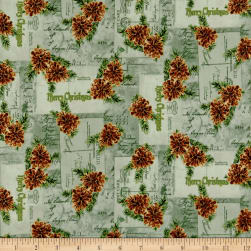Christmas Memories Pine Cones Metallic Light Green Fabric