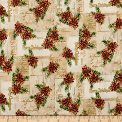 Christmas Memories Pine Cones Metallic Neutral Fabric