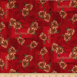 Christmas Memories Pine Cones Metallic Red Fabric