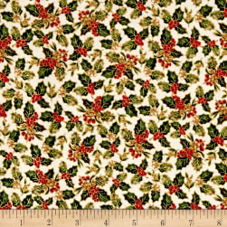 Christmas Memories Holly Metallic Multi Fabric