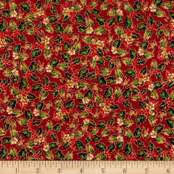 Christmas Memories Holly Metallic Red Fabric