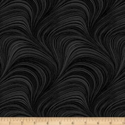 Wave Texture Black Fabric