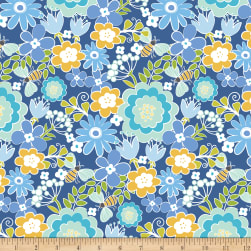 Contempo Front Porch Summer Floral Blue Fabric