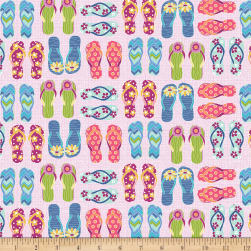 Contempo Front Porch Flip Flops Pink Fabric