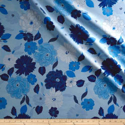 Kanvas Blue Brilliance Floral Metallic Light Blue Fabric