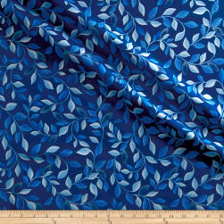Kanvas Blue Brilliance Shimmer Leaves Metallic Navy Fabric