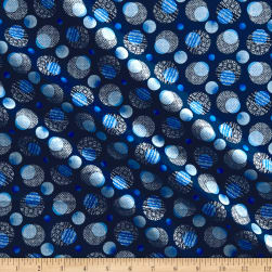 Kanvas Blue Brilliance Shimmer Dots Metallic Navy Fabric