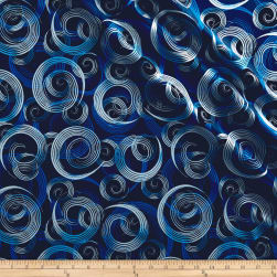 Kanvas Blue Brilliance Shimmer Swirl Metallic Navy Fabric