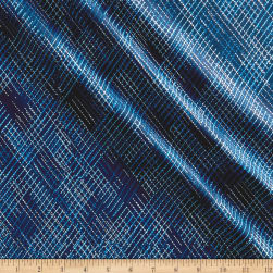 Kanvas Blue Brilliance Shimmer Dash Metallic Navy Fabric