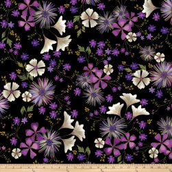 Kanvas Enchanted Garden Floral Black Metallic Fabric
