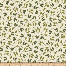 Kanvas Enchanted Leaves Cream Metallic Fabric