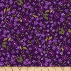 Kanvas Enchanted Mini Floral Purple Metallic Fabric