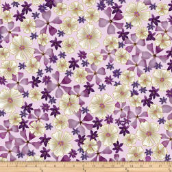 Kanvas Enchanted Full Bloom Orchid Metallic Fabric